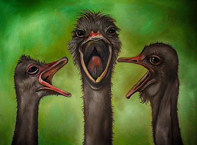 Ostrich Painting - The 3 Tenors Edit 2 by Leah Saulnier The Painting Maniac