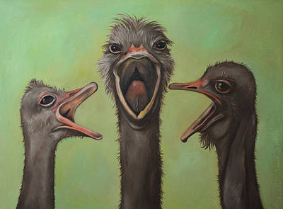 Ostrich Painting - The 3 Tenors by Leah Saulnier The Painting Maniac