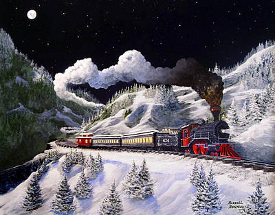 Snow Scape Painting - The 624 To Chicago by Russell Bentley