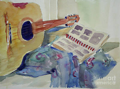 Music Paintings - The 70s Guitar by B Rossitto