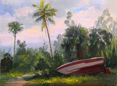 Painting - The Abandoned Boat by Keith Gunderson