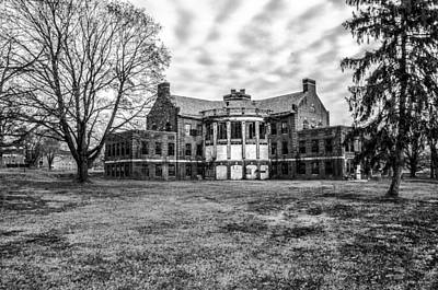 The Abandoned Building 17  - Norristown State Hospital In Black  Art Print by Bill Cannon