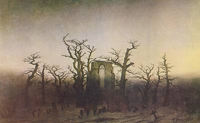 Moody Painting - The Abbey In The Oakwood by Philip Ralley