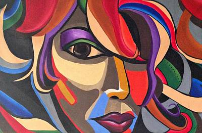 Painting - Abstract Woman Art, Abstract Face Art Acrylic Painting by Ai P Nilson