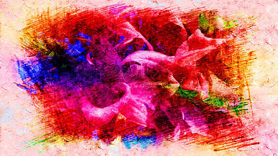 Painting - The Abstract Impression In Red Flowers by Xueyin Chen