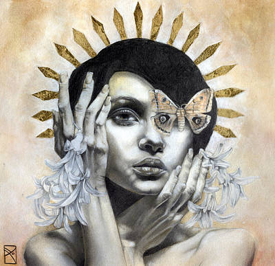 Portraits Mixed Media - The Abyss Gazes Back by Patricia Ariel