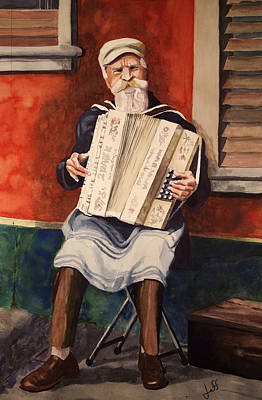 Accordian Painting - The Accordion Player by Jeff Chase