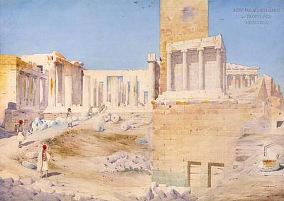 The Acropolis At Athens, 1844 Wc On Paper Art Print by Gustave Bougerel