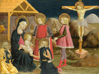 The Adoration Of The Kings And Christ On The Cross Art Print