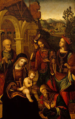 Melchior Painting - The Adoration Of The Kings by Neapolitan School