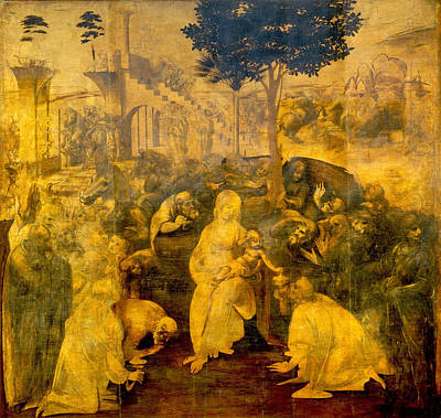 Religious Artist Painting - The Adoration Of The Magi by Leonardo Da Vinci