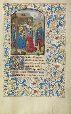 Flemish Drawing - The Adoration Of The Magi Willem Vrelant, Flemish, Died 1481 by Litz Collection