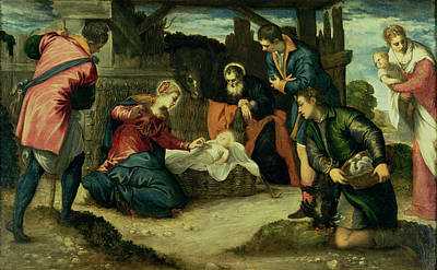 Nativity Painting - The Adoration Of The Shepherds, 1540s by Jacopo Robusti Tintoretto
