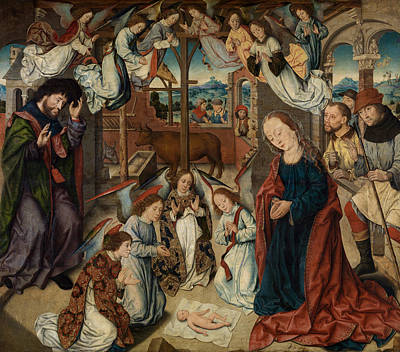 Nativity Painting - The Adoration Of The Shepherds by Albrecht Bouts