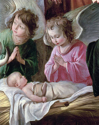 Cribs Photograph - The Adoration Of The Shepherds, Angels And Child, C.1640 Oil On Canvas Detail Of 99414 by Antoine and Louis Le Nain