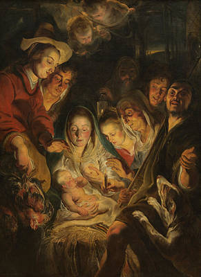 Nativity Painting - The Adoration Of The Shepherds by Anonymous