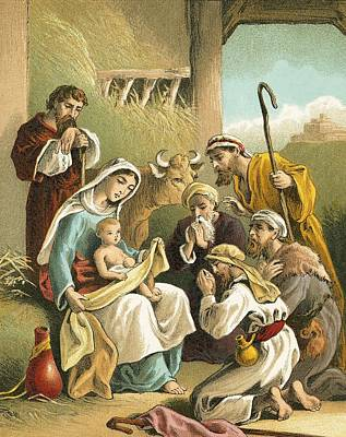 Nativity Painting - The Adoration Of The Shepherds by English School