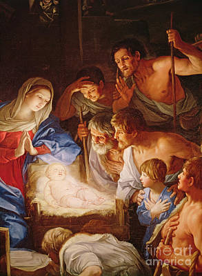 Manger Wall Art - Painting - The Adoration Of The Shepherds by Guido Reni
