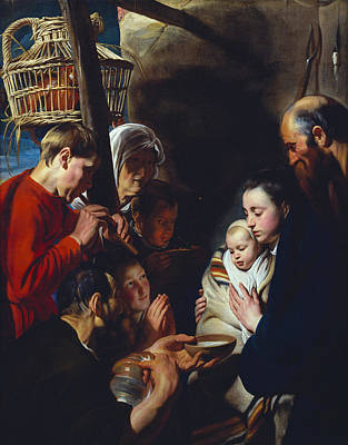 Nativity Painting - The Adoration Of The Shepherds by Jacob Jordaens