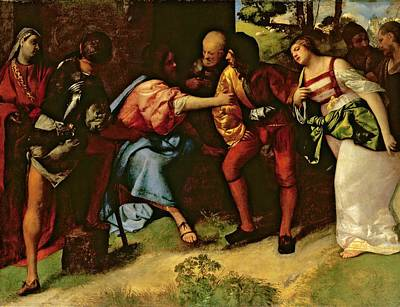 Forgiveness Painting - The Adulteress Brought Before Christ by Giorgione