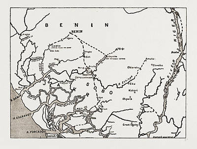 The Advance On Benin Map Showing The Route Of The Expedition Art Print by Litz Collection