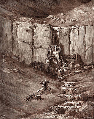 Miguel Art Drawing - The Adventure Of The Fulling-mills, By Gustave Dore by Litz Collection