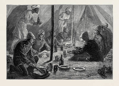 Mess Drawing - The Afghan War Mess Tent Of The Fourth Battalion Of Rifles by English School
