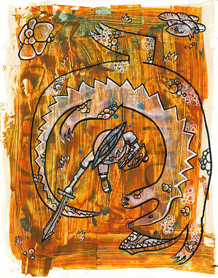 Alligator Mixed Media - The Aggressive Advancing Alligator by Todd Damotte