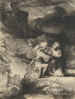 Etching Drawing - The Agony In The Garden by Rembrandt
