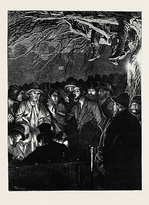 Labourer Drawing - The Agricultural Strike The Night Meeting Of Farm Labourers by English School