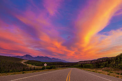 Mellow Yellow - The Alaska Highway Drops, Curves by Zachary Sheldon