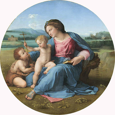 Child Jesus Painting - The Alba Madonna by Raffaello Sanzio of Urbino
