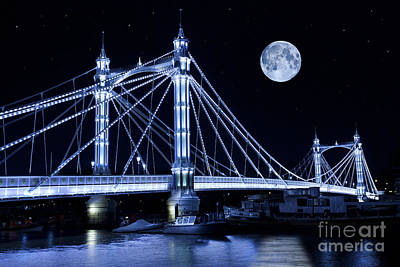 Super Moon Photograph - The Albert Bridge And The Moon by Simon Kayne