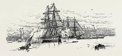 Alberta Drawing - The Alberta, With The Queen On Board, Passing The German by Litz Collection