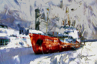 Art Print featuring the digital art The Alexander Henry In Winter by Jim Vance