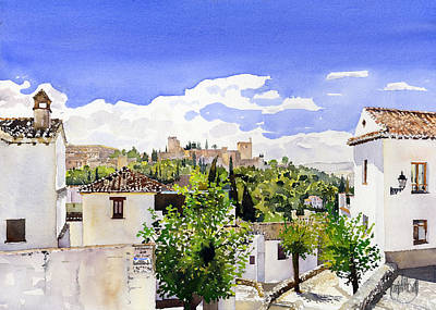 The Alhambra From The Albaicin Art Print by Margaret Merry