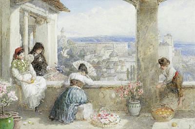 Myles Birket Foster Digital Art - The Alhambra Granada Spain by Myles Birket Foster