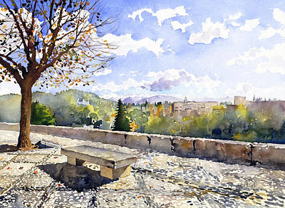 The Alhambra In Autumn Print by Margaret Merry