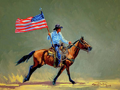The All American Cowboy Art Print by Randy Follis