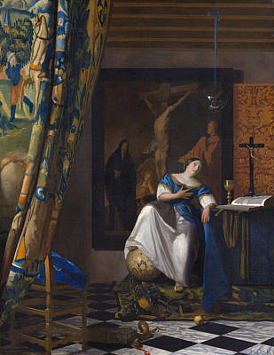 Globe Painting - The Allegory Of The Faith by Johannes Vermeer