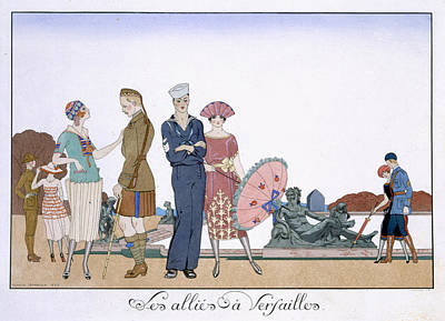 The Allies In Versailles Art Print by Georges Barbier