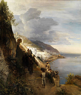 Oswald Painting - The Amalfi Coast With The Stairs To The Capuchin Monastery by Oswald Achenbach
