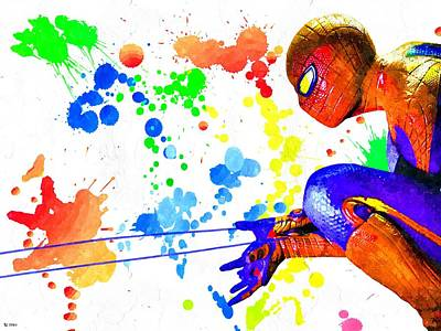 Spidey Mixed Media - The Amazing Spider-man Watercolor by Daniel Janda