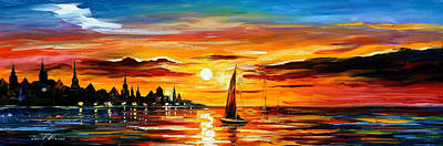 The Amber Evening - Palette Knife Oil Painting On Canvas By Leonid Afremov Original