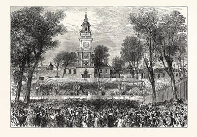 July Fourth Drawing - The American Centennial Festival Independence Hall by American School