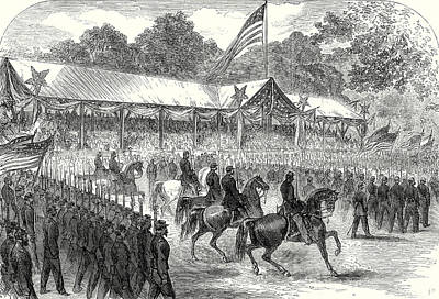 Flag Of Usa Drawing - The American Civil War Grand Review Of The Army by American School