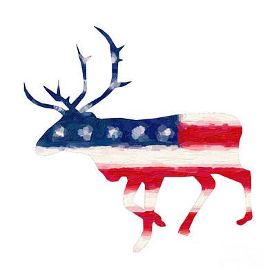 Landmarks Painting Royalty Free Images - The American Elk Royalty-Free Image by Adam Asar