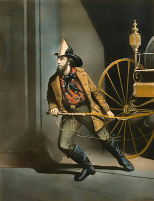 1850s Painting - The American Fireman 1858 by Mountain Dreams