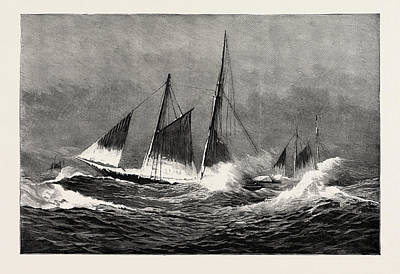 The American Fisheries Question, Fishing Schooner Icing Art Print by American School