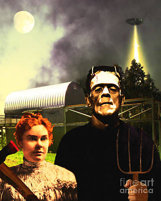 The American Gothic Abduction Of Frank And Liz By Visitors From Mars Dsc912 Art Print by Wingsdomain Art and Photography